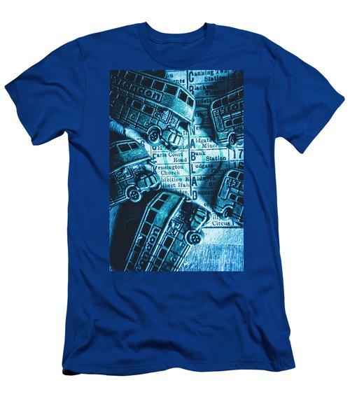 Blue Britain Bus Bill Men's T-Shirt (Athletic Fit)