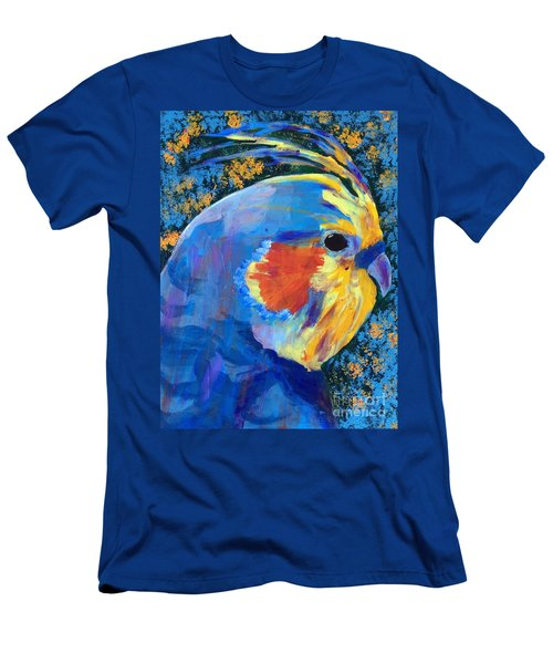 Men's T-Shirt (Slim Fit) featuring the painting Blue Cockatiel by Donald J Ryker III