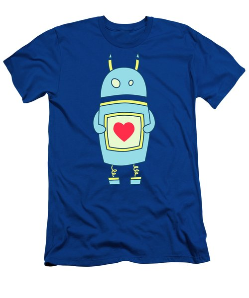 Blue Cute Clumsy Robot With Heart Men's T-Shirt (Athletic Fit)