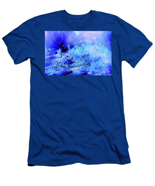 Blue Digital Artwork With Dots And Stripes And Sandstone Finish Men's T-Shirt (Athletic Fit)