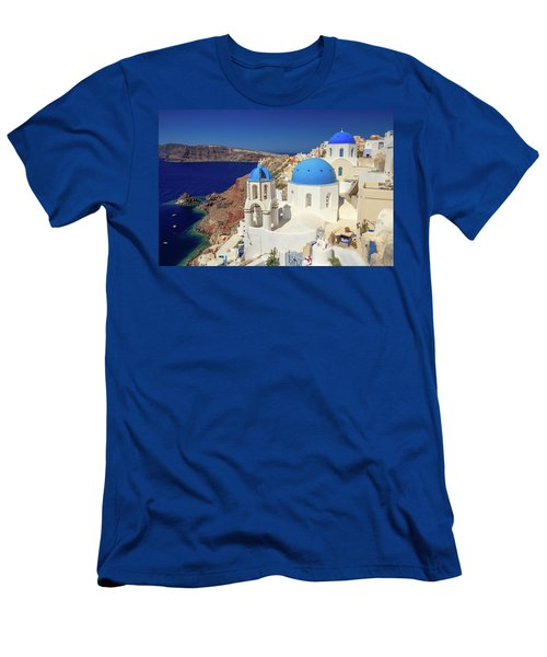 Blue Domed Churches Men's T-Shirt (Slim Fit) by Emmanuel Panagiotakis