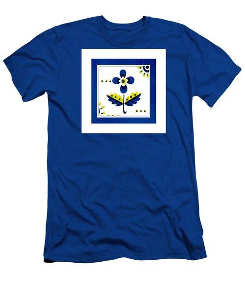 Blue Flower Illustration Men's T-Shirt (Slim Fit) by Bonnie Bruno