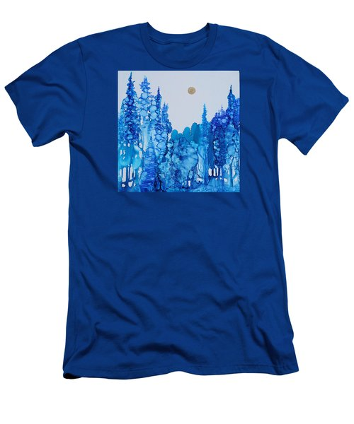 Men's T-Shirt (Slim Fit) featuring the painting Blue Forest by Suzanne Canner