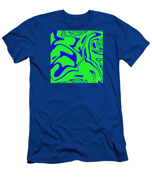 Blue Green Retro Abstract Men's T-Shirt (Athletic Fit)