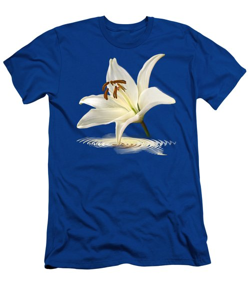 Blue Horizons - White Lily Men's T-Shirt (Slim Fit) by Gill Billington