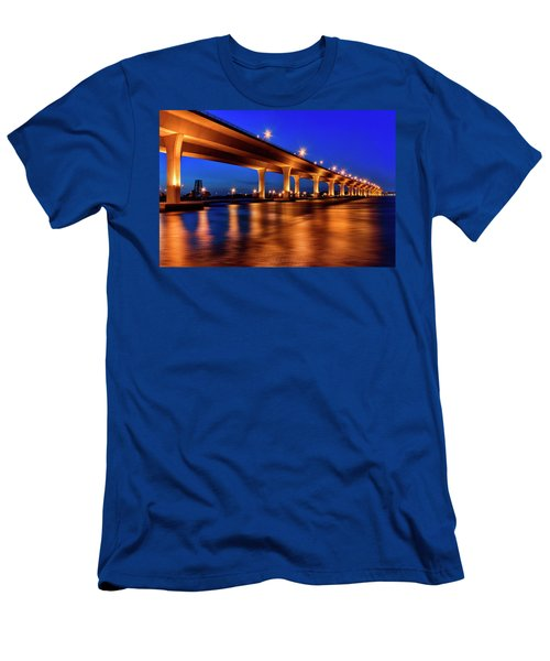 Blue Hour At Roosevelt Bridge In Stuart Florida  Men's T-Shirt (Athletic Fit)