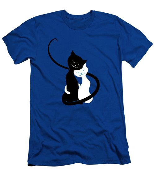 Blue Love Cats Men's T-Shirt (Slim Fit)