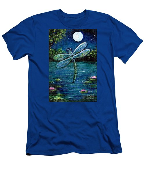 Men's T-Shirt (Slim Fit) featuring the painting Blue Moon Dragonfly by Sandra Estes