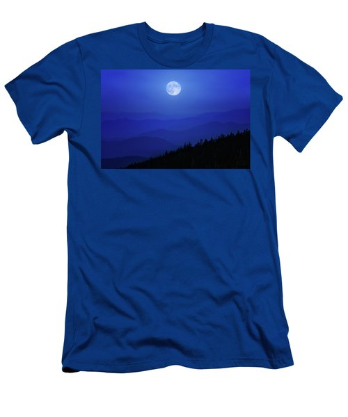 Blue Moon Over Smoky Mountains Men's T-Shirt (Athletic Fit)