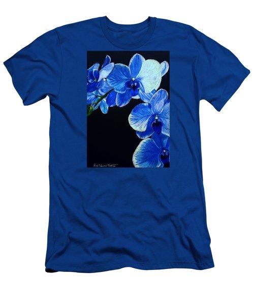 Blue Orchid - Electric-blue Phalaenopsis Men's T-Shirt (Slim Fit) by Anita Putman