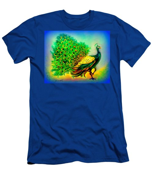 Blue Peacock Men's T-Shirt (Slim Fit) by Yolanda Rodriguez
