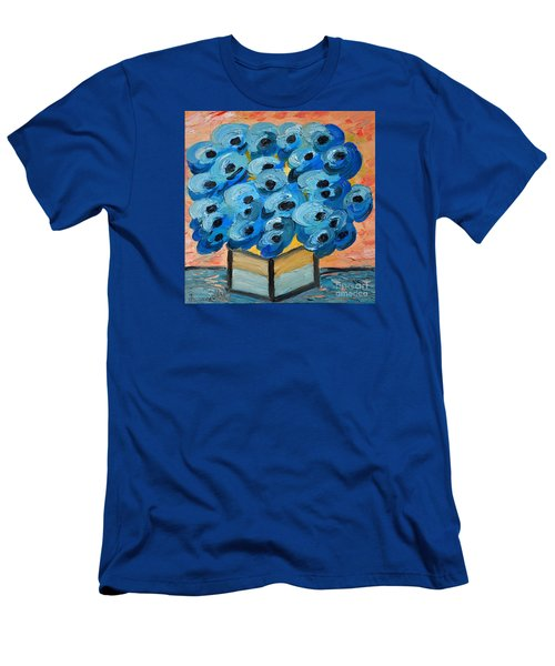 Blue Poppies In Square Vase  Men's T-Shirt (Slim Fit) by Ramona Matei