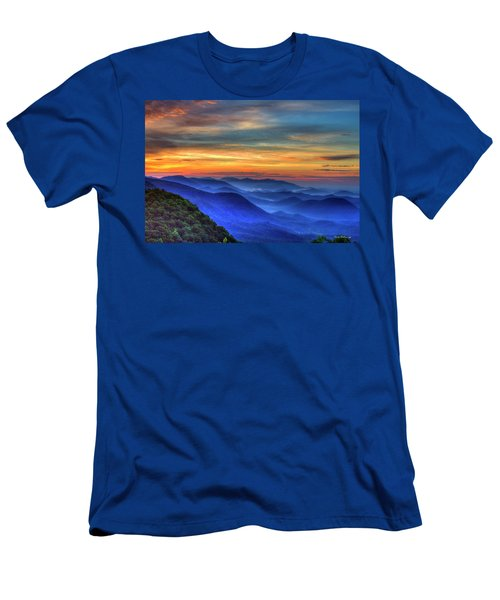 Men's T-Shirt (Slim Fit) featuring the photograph Blue Ridges 2 Pretty Place Chapel View Great Smoky Mountains Art by Reid Callaway