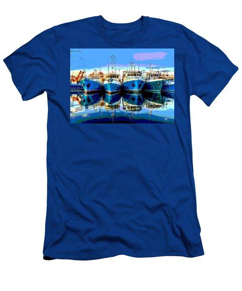 Blue Shrimp Boats Men's T-Shirt (Slim Fit) by Charles Shoup