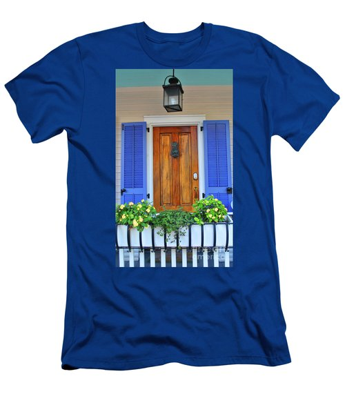 Men's T-Shirt (Athletic Fit) featuring the photograph Blue Shutters by Jost Houk