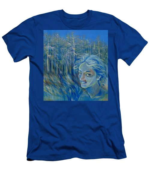 Men's T-Shirt (Slim Fit) featuring the painting Blue Spring by Anna  Duyunova