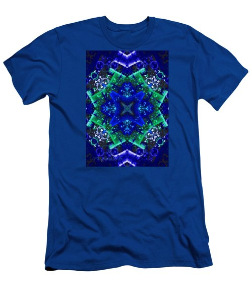 Blue Star Mandala Men's T-Shirt (Slim Fit) by Mimulux patricia no No