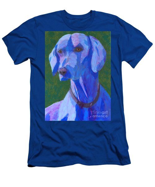 Men's T-Shirt (Slim Fit) featuring the painting Blue Weimaraner by Donald J Ryker III