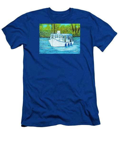 Boat On The River Men's T-Shirt (Slim Fit) by Reb Frost