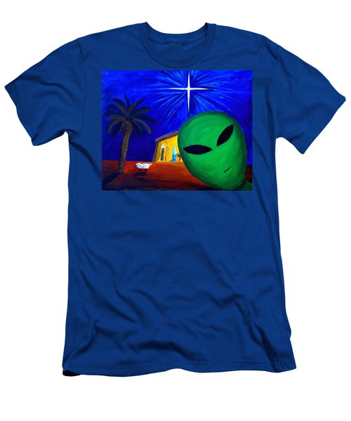 Men's T-Shirt (Slim Fit) featuring the painting Bob At The Manger by Lola Connelly