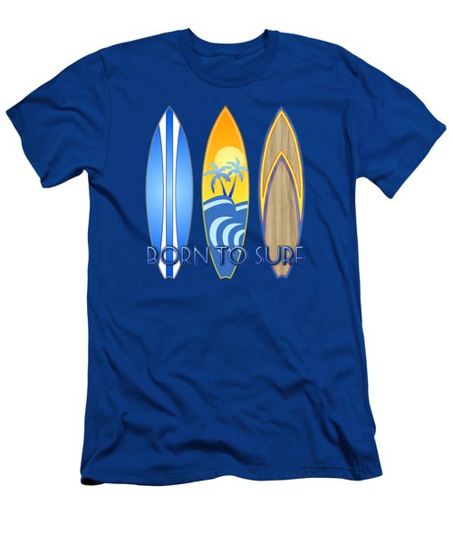 Born To Surf And Tiki Masks Men's T-Shirt (Slim Fit) by Chris MacDonald
