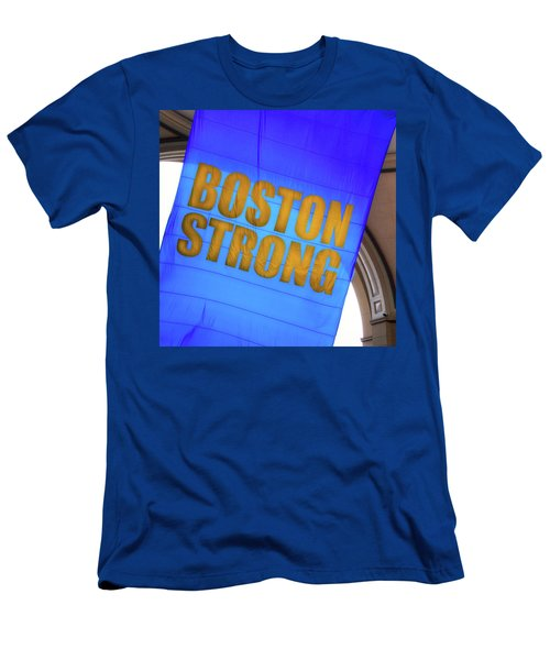 Men's T-Shirt (Athletic Fit) featuring the photograph Boston Strong - Boston Marathon Banner by Joann Vitali