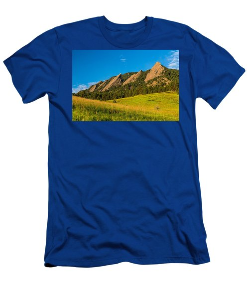 Boulder Colorado Flatirons Sunrise Golden Light Men's T-Shirt (Athletic Fit)