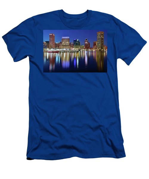 Men's T-Shirt (Slim Fit) featuring the photograph Bright Blue Baltimore Night by Frozen in Time Fine Art Photography