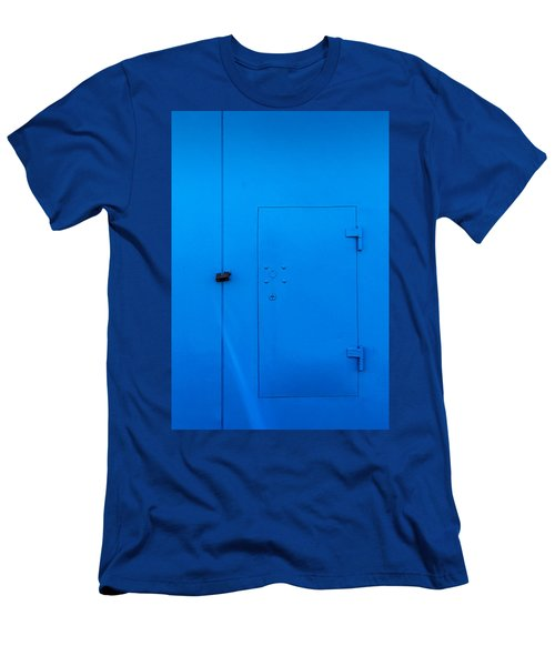 Bright Blue Locked Door And Padlock Men's T-Shirt (Athletic Fit)