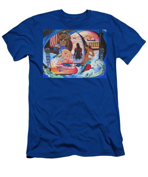 Blaa Kattproduksjoner     Two  Godessess Enjoying  The Nile Spa Men's T-Shirt (Athletic Fit)