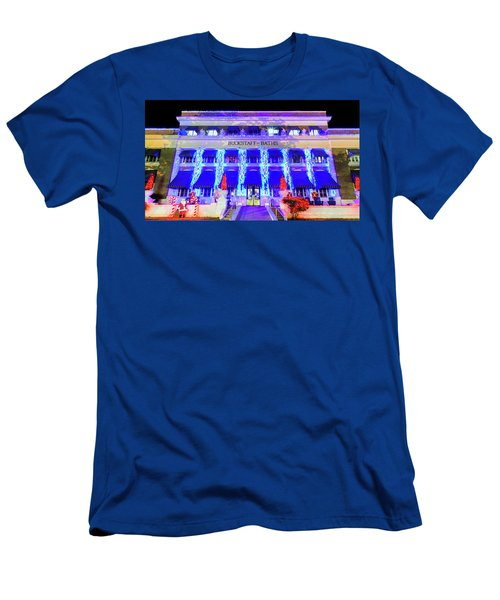 Men's T-Shirt (Slim Fit) featuring the photograph Buckstaff Baths - Christmastime by Stephen Stookey