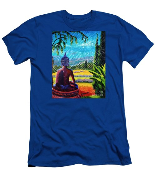 Buddha Atop The Lavender Farm Men's T-Shirt (Slim Fit) by Janet McDonald