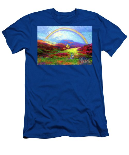 Men's T-Shirt (Slim Fit) featuring the painting Buddha Chakra Rainbow Meditation by Jane Small