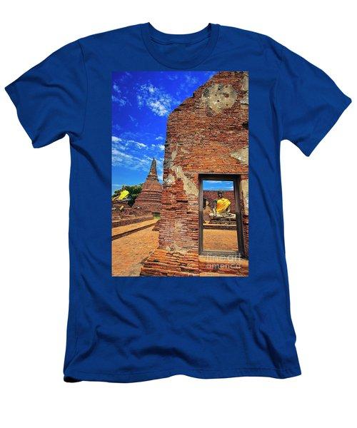 Men's T-Shirt (Athletic Fit) featuring the photograph Buddha Doorway At Wat Worachetha Ram In Ayutthaya, Thailand by Sam Antonio Photography