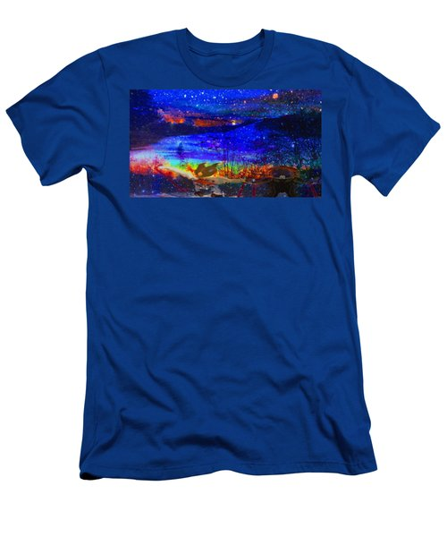 Men's T-Shirt (Slim Fit) featuring the painting Bunnies At The Slopes by Mike Breau