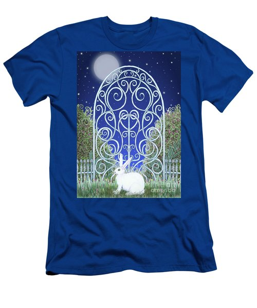 Men's T-Shirt (Athletic Fit) featuring the mixed media Bunny, Gate And Moon by Lise Winne