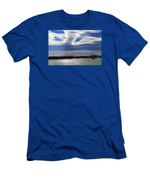Men's T-Shirt (Athletic Fit) featuring the photograph Busy Day At The Wharf by Nareeta Martin