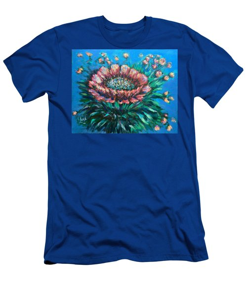 Men's T-Shirt (Slim Fit) featuring the painting Cactus Flowers by Laila Awad Jamaleldin