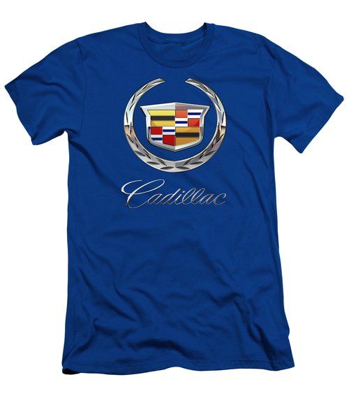 Cadillac 3 D  Badge Special Edition On Blue Men's T-Shirt (Athletic Fit)