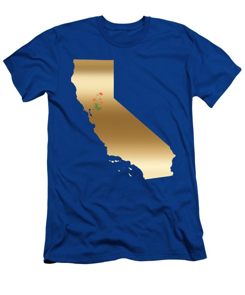 California Gold With State Flower Men's T-Shirt (Athletic Fit)