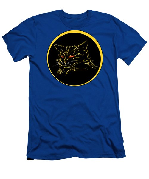 Calligraphic Black Cat And Moon Men's T-Shirt (Athletic Fit)
