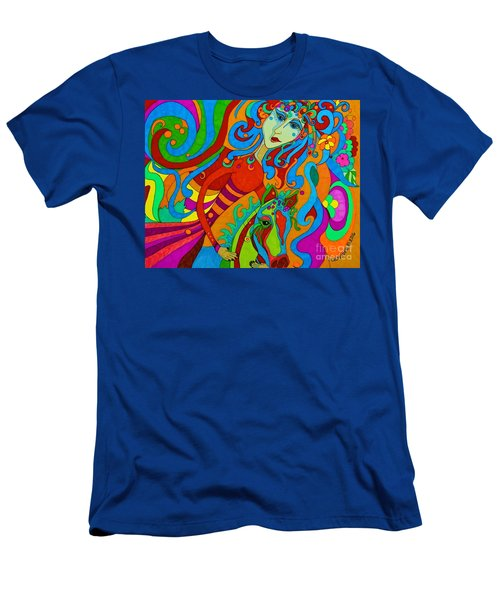 Men's T-Shirt (Slim Fit) featuring the painting Carousel Dance 2016 by Alison Caltrider