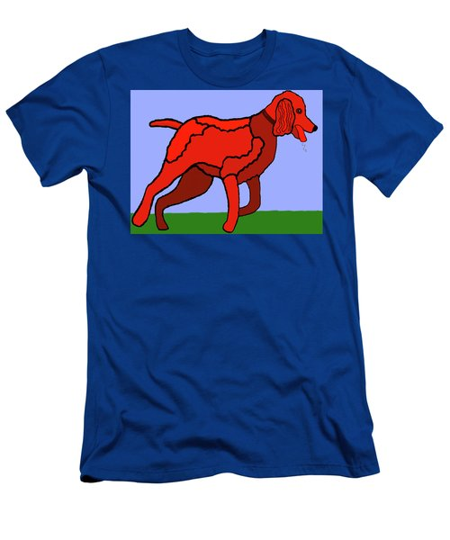 Cartoon Romping Miniature Apricot Poodle Men's T-Shirt (Athletic Fit)