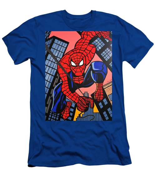 Cartoon Spiderman Men's T-Shirt (Slim Fit) by Nora Shepley