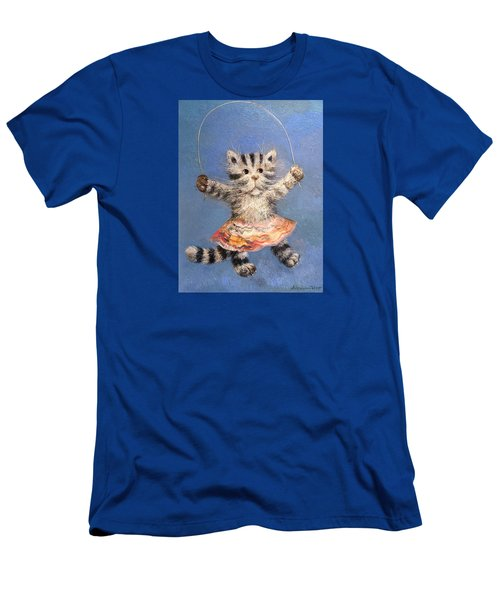Men's T-Shirt (Slim Fit) featuring the painting Cat And Skip Rope by Mikhail Savchenko