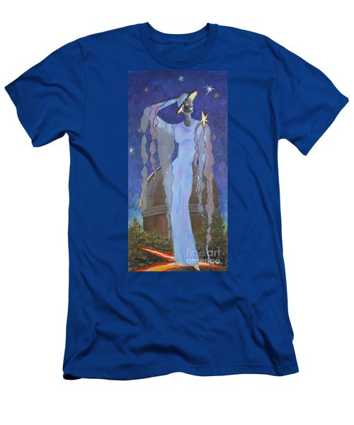 Celestial Bodies -- Fashion Collage Portrait W/ Fabric And Crystals Men's T-Shirt (Athletic Fit)