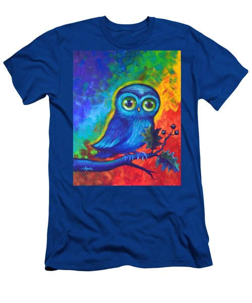 Men's T-Shirt (Slim Fit) featuring the painting Chakra Abstract With Owl by Agata Lindquist