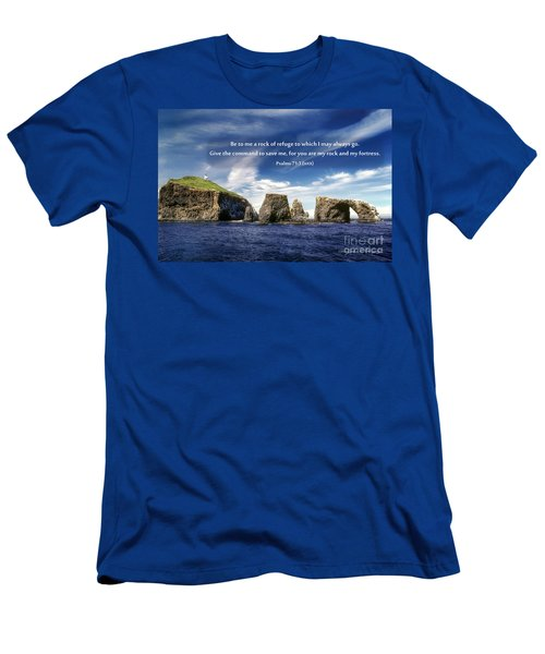 Channel Island National Park - Anacapa Island Arch With Bible Verse Men's T-Shirt (Athletic Fit)