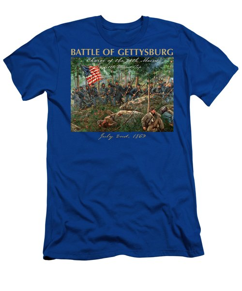 Charge Of The 20th Maine - Joshua L. Chamberlain Leading The 20th Maine Regiment On Little Round Top Men's T-Shirt (Athletic Fit)
