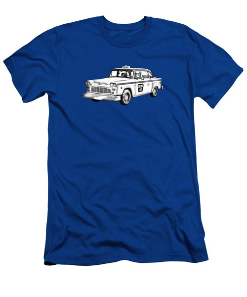 Checkered Taxi Cab Illustrastion Men's T-Shirt (Slim Fit) by Keith Webber Jr